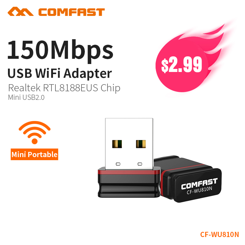 COMFAST 150Mbps MINI Wireless USB WiFi Adapter Dongle Network LAN Card 802.11n PC Receiver For MAC WindowsXP/7/8/10 Vista Linux image