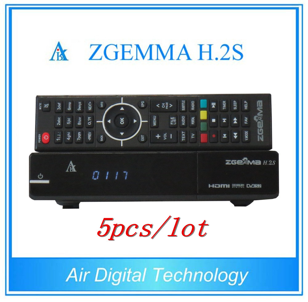 5pcs/lot Full Official TV Channels Smart Zgemma H.2S FTA Satellite Receiver With Linux OS Enigma2 DVB-S2+S2 Twin Tuner IPTV Box