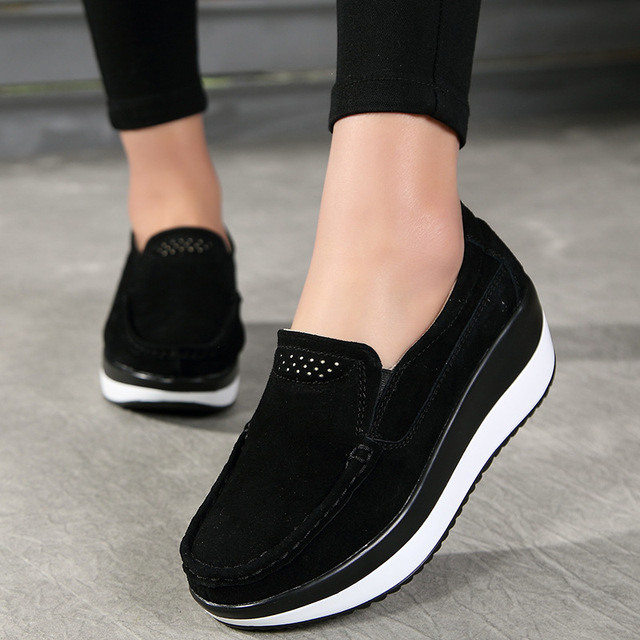 2781b21ff41 Women Flat Platform Loafers Ladies Elegant Suede Leather Moccasins Shoes  Woman Slip On Moccasin Women s blue Casual Shoes