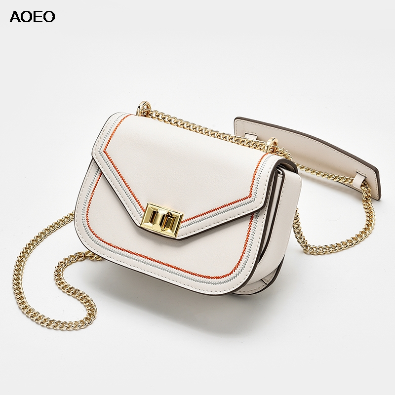 AOEO Handbags Women s Split Leather Shoulder Bag Girl Fashion Sling Chain Strap Woman Small Luxury