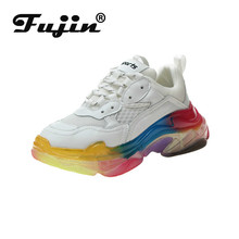 Fujin Women Shoes Spring Thick Bottom Dropshipping Transparent Rainbow Muffin Fashion Breathable Mesh Sneakers Female
