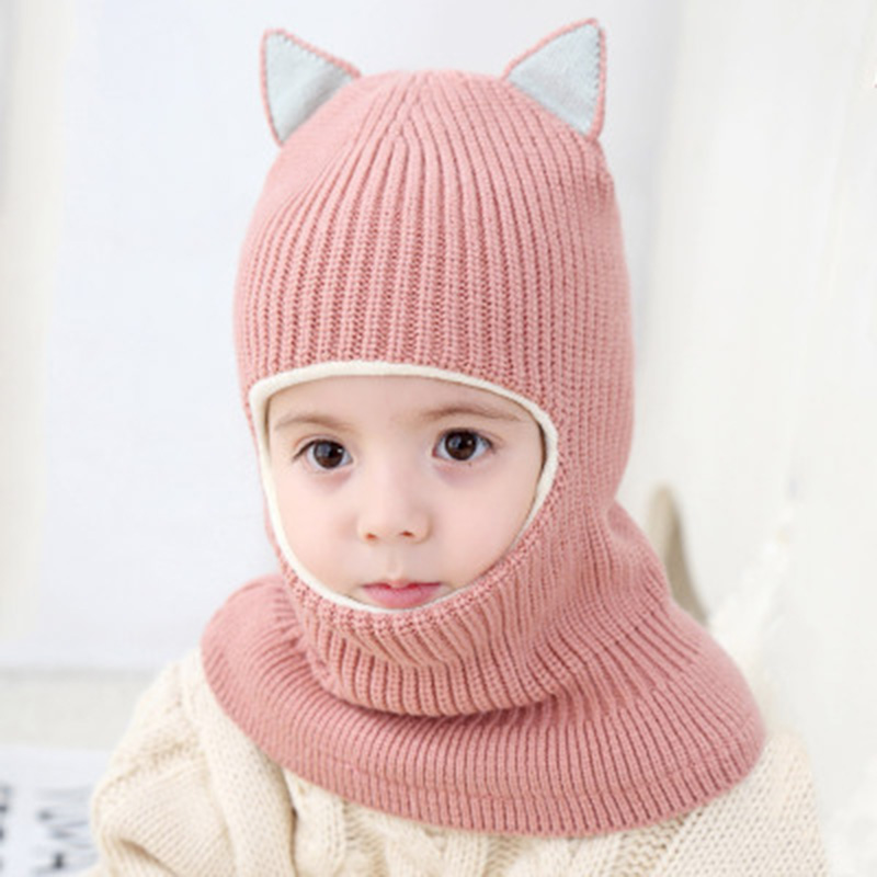 Winter Children Hats Knitted Baby Girls and Boys Hat with Warm Fleece Lining Cute Cat Ears Hats for Kids Mask Hats Gorras(China)