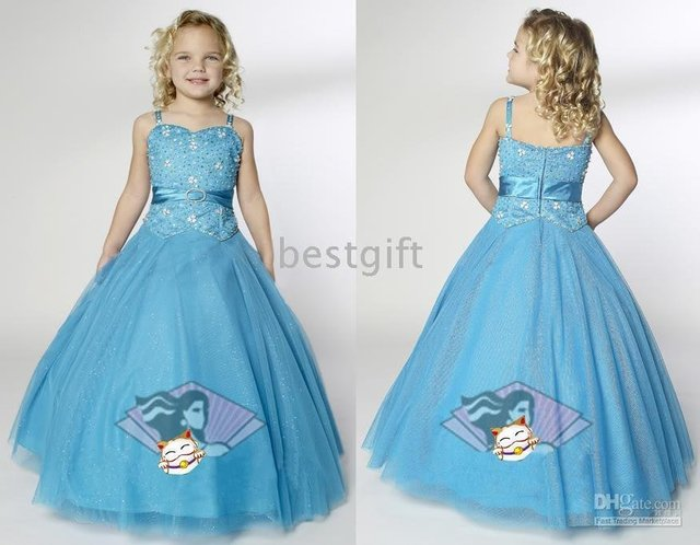 Halter Style blue Flower Girl Pageant Wedding Dress Size2-10 w15