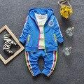 Детские спортивные костюмы хлопка спортивной три костюм мальчика/девушки одежды пальто + Футболка + длинные брюки 1-5 лет