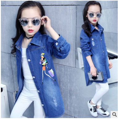 Girls Blue Jeans Jackets 2018 New Autumn Children Long Clothes Girl