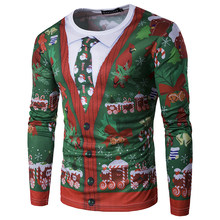 22577f5c5 CALOFE Christmas 3D Print T Shirt Men Autumn Long Sleeve Tshirt Winter  Cardigan Tie Printed Mens Fake Two Pieces Funny T-shirt