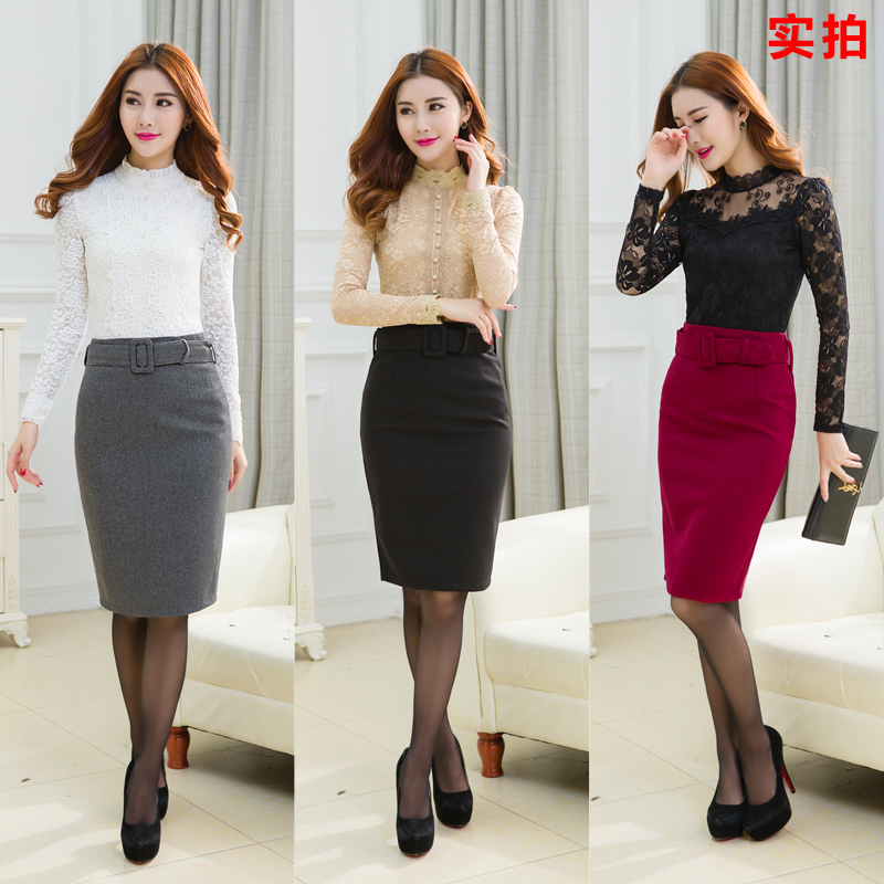 Skirt Hip-Mid-Length Large European And One-Step Thickened American-Fall/winter New