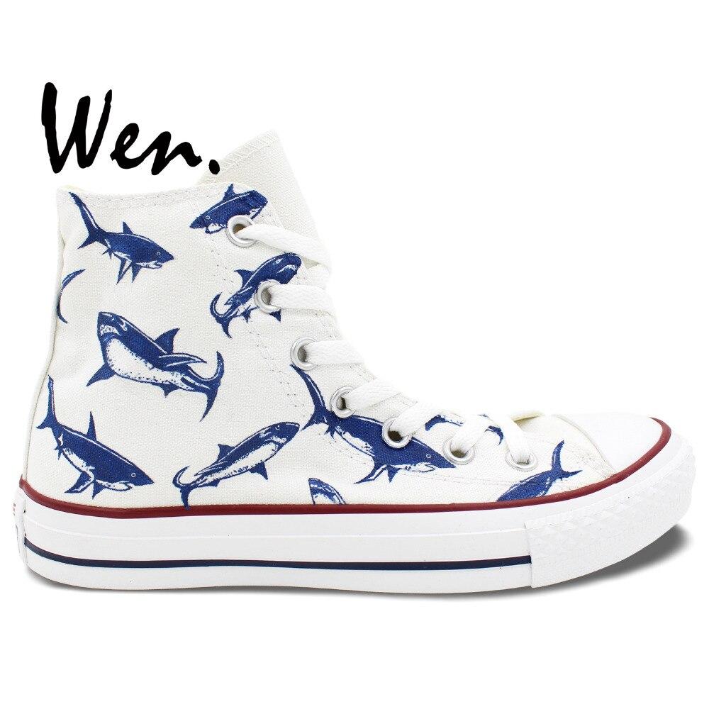 Prix pour Wen Design Original Personnalisé Peint À La Main Chaussures Requin de Groupe De Haute Top Toile Chaussures Hommes Femmes Sneakers pour Cadeaux