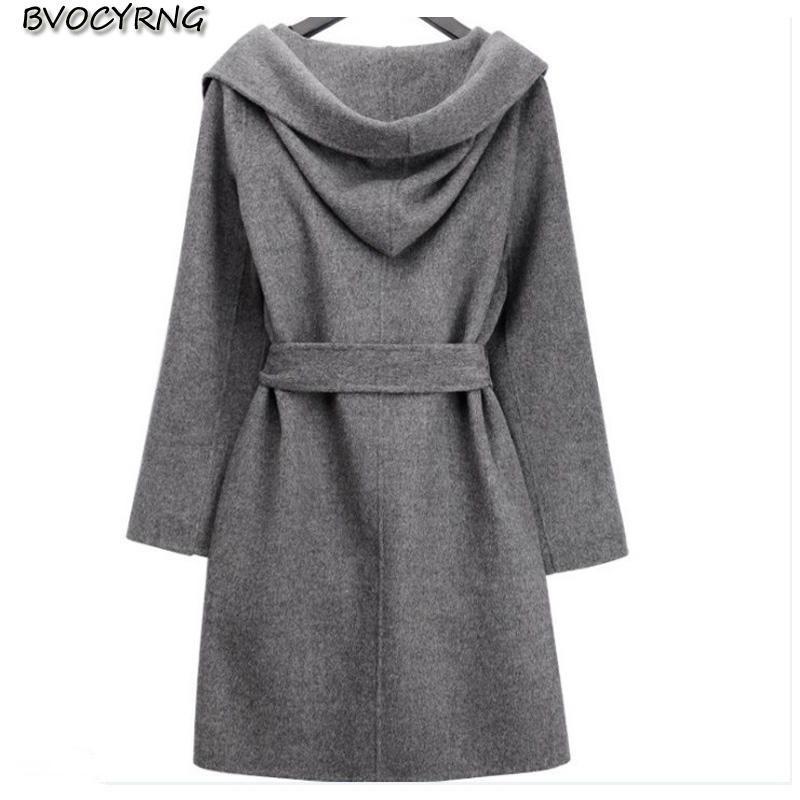 ccf1137d1288 2017New Autumn Winter Fashion Cloth Coat Pure Color Hooded Leisure Big  Yards Women High-end