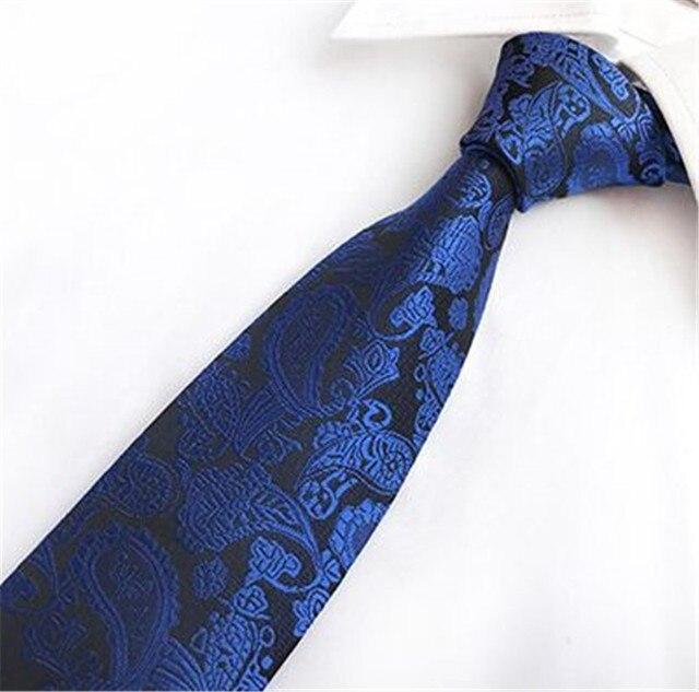 b7948b8d566b SCST Brand New Gravata Classic Paisley Floral Print Blue Ties For Men  Neckties Mens Wedding Necktie Silk Tie Slim Cravate TA095
