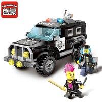 185Pcs City Series Police Swat Car Building Block Sets Kids Bricks Minifigure Toys For Children Compatible