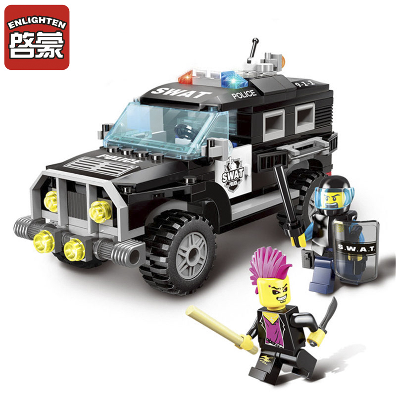 190Pcs Enlighten City Series Police Swat Car Building Block sets Bricks Toys For Children Compatible legoelieds Lepin Gifts lepin 02012 city deepwater exploration vessel 60095 building blocks policeman toys children compatible with lego gift kid sets