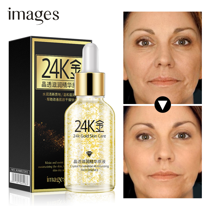 images Brand 24K Gold Face Serum Moisturizer Essence Cream Whitening Day Creams Anti Aging Wrinkle Firming Lift Skin Care