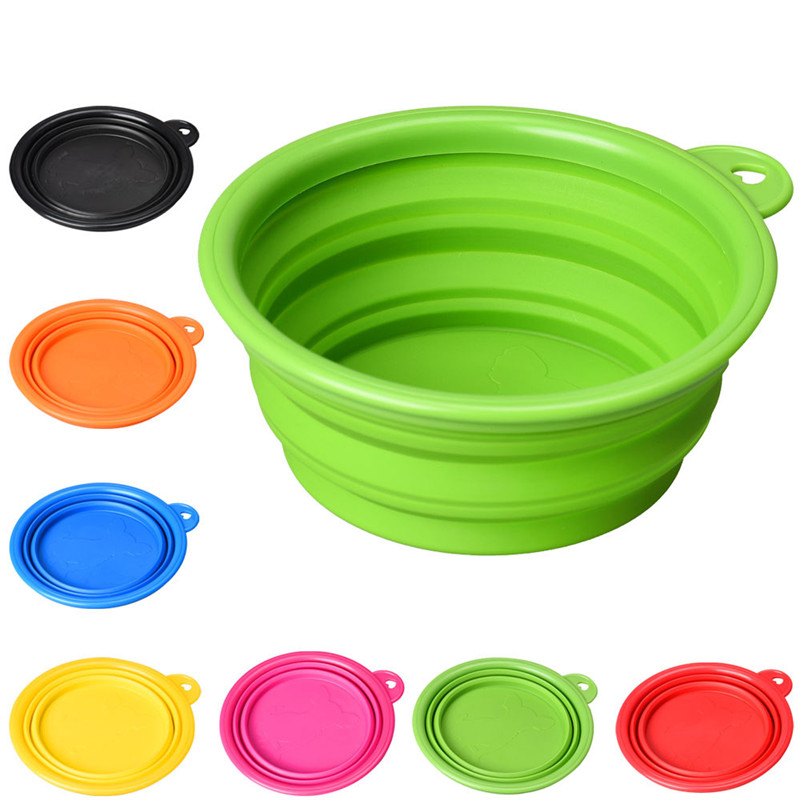 Solid Color Pet Cat Dog Bowl Folding Collapsible Silicone Puppy Doggy Feeder Water Food Container Foldable Style On Sale