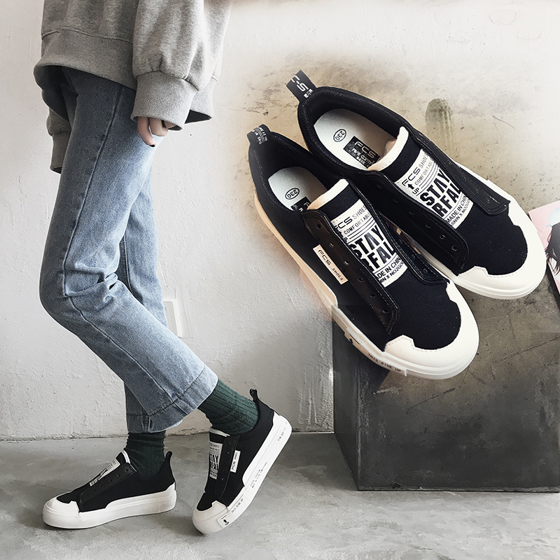 2018 New Women Sneakers Female Shoes Fashion Style White Black Casual Shoes Flat Heel Slip on Loafers Leather Shoes Size 35-40 ...