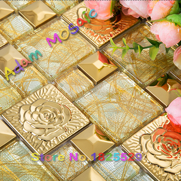 gold flower tiles stainless steel mirror wall design golden glass ...