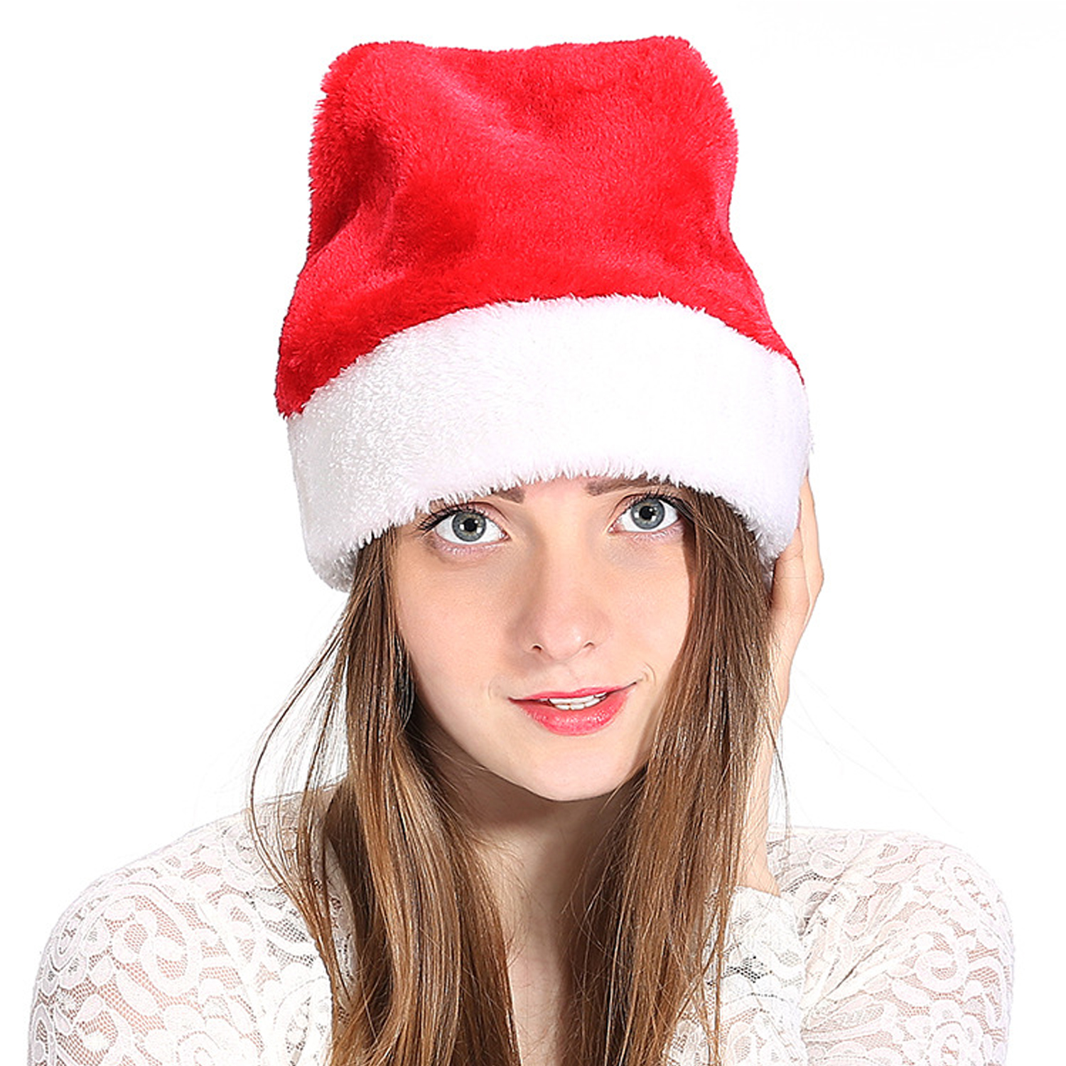 Unisex Thicken Soft Warm Plush Christmas Xmas Santa Claus Hat For Adults Kids Party Carnival Celebration