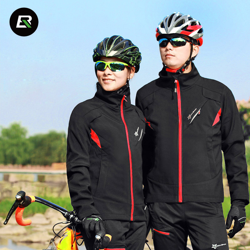 Rockbros Winter Cycling Set Thermal Fleece Men Women Bike Cycling Jersey Windproof Warm Bicycle Jersey Cycle Clothing Set veobike winter windproof thermal fleece reflective bike bicycle jersey warm cycling wind coat jackets pants set for men women