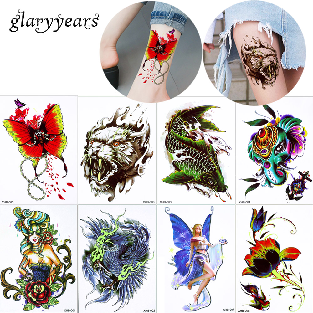 glaryyears 8 Pieces/lot Candy Green Fluorescence Tattoo Colored Drawing Body Chest Arm Leg Art Temporary Tattoo Sticker 2018 XHB ...