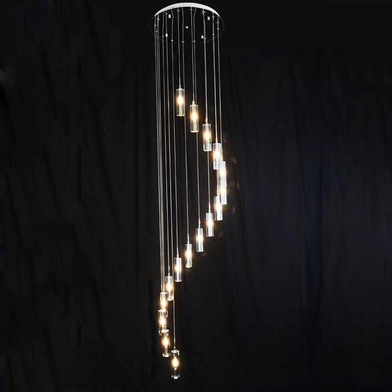ZX Double Staircase Large Crystal Pendant Lamp Villa Luxury G4 LED Long Chandelier Bubble Column Crystal Living Room Spiral Lamp