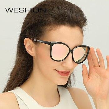 WESHION gafas De sol polarizadas las mujeres ojo De gato tamaño medio  conducir damas marca 2018 nuevo Lunettes De Soleil para mujeres 338a93560e20