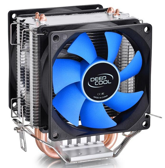 CPU radiator DEEP COOL 2pcs 8025 fan, 2 heatpipe,tower side-blown, for Intel LGA 775/1155/1156,for AMD 754/940/AM2+/AM3/FM1/FM2, 2200rpm cpu quiet fan cooler cooling heatsink for intel lga775 1155 amd am2 3 l059 new hot