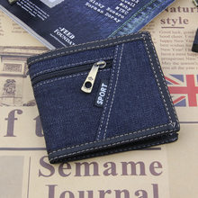 2019 Men Wallet Denim Wallet Fashion Coins Purse Small Short Card Holders Purse Bag For Male And Female Carteira Denim(China)