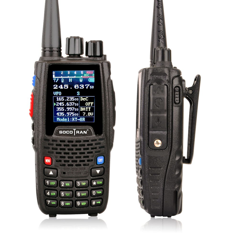 Image 4 - Quad Band Walkie talkie UHF VHF 136 147Mhz 400 470mhz 220 270mhz 350 390mhz 4 Band Handheld Two Way Radio Ham Transceiver  KT 8R-in Walkie Talkie from Cellphones & Telecommunications