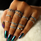 12PCS/Set Boho Silver Color Rings Set for Women Fashion Jewelry Adjustable Open Ring Bohemian Engagement Jewellery bijoux femme