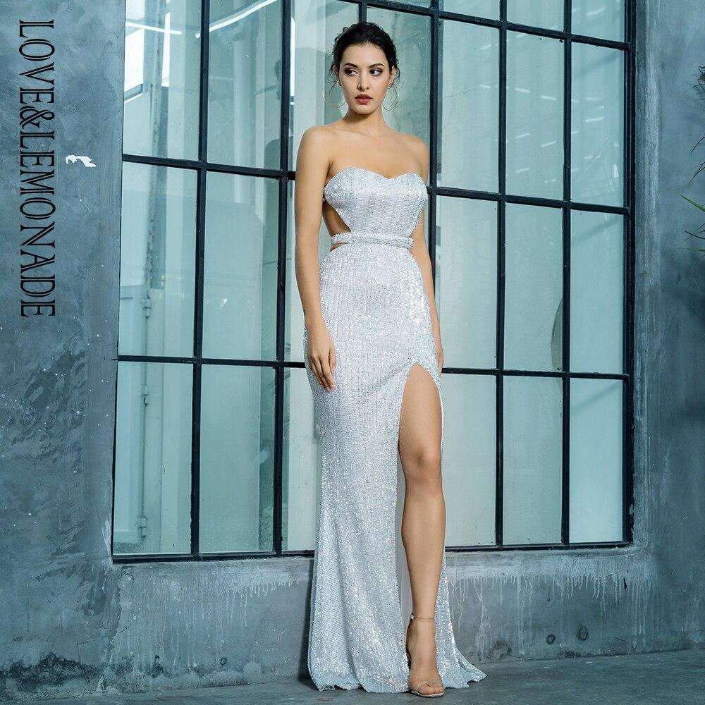 사랑 & 레모네이드 실버 브래지어 오픈 다시 pleated 장식 조각 슬림 드레스 파티 긴 드레스 lm81335silver-에서드레스부터 여성 의류 의  그룹 2