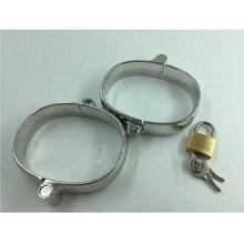 stainless steel fun handcuffs Adult sex toy Pretend Play Silver Metal HandCuffs With Keys handcuffs metal sex fun bdsm
