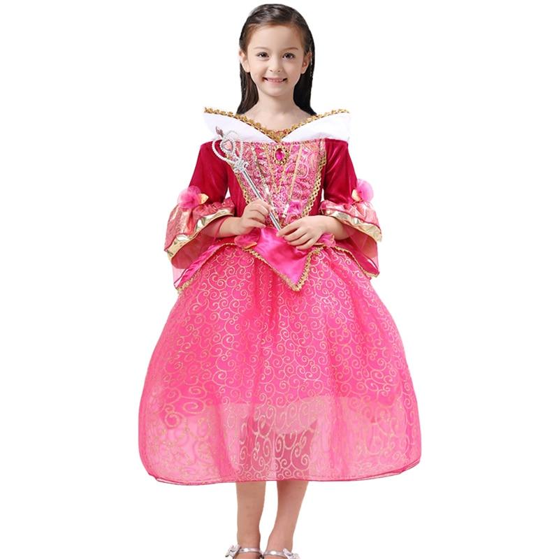 Girls Sleeping Beauty Princess Party Dresses 2018 Children Clothing Kigurumi Aurora Costume Kids Carnival Dress up Ball Gown