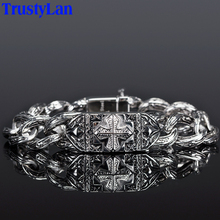 Vintage Men Jewelry Accessories Thick Chain Link Stainless Steel Men Bracelet Male Cool Punk Cross Style Mens Bracelets 2018 Arm