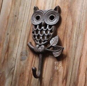 Image 1 - H:19 см, промышленный ретро стиль, чугунный настенный крючок в виде совы, крючки для одежды