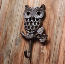 H:19CM   LOFT Industrial Retro Style Cast Iron Owl wall hook Clothes hooks