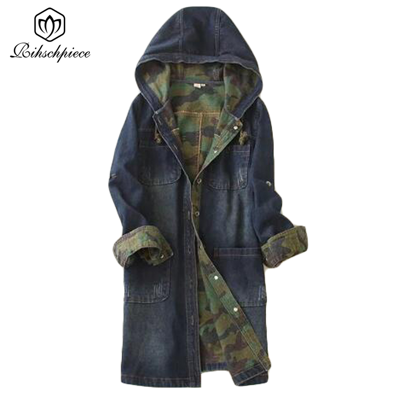 Rihschpiece Autumn Camouflag Denim   Trench   Coat For Women Jeans Long Overcoat Harajuku Windbreaker Oversize   Trench   Coats RZF339