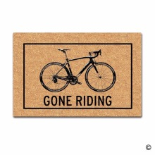 Funny Printed Doormat Entrance Floor Mat Gone Riding Bicycle Non-slip 23.6 by 15.7 Inch Machine Washable Non-woven Fabri