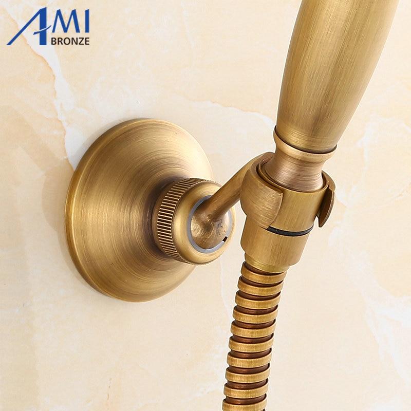 Amibronze Retro Antique Brass Bathroom Hand Held Shower Head Holder Bracket  Bathroom Hardware Accessory Wall Mounted Hook