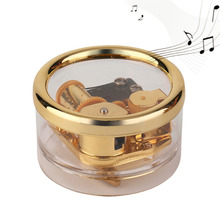 Acrylic Clear Gurdy Clockwork Movement Round Music Box Play Tunes Castle In The Sky Best Gift DIY Home Hecoration Drop Shipping
