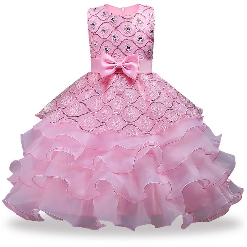 купить Flower Girls dresses for Wedding Party Baby Girls Sleeveless Big Bow Princess Dress Children Party Vestidos New Year clothes по цене 612.17 рублей
