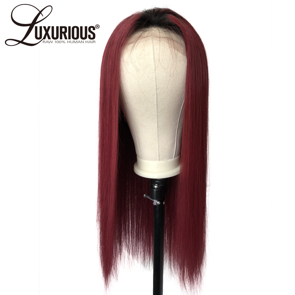 1 99j Ombre Color Straight Lace Front Wigs With 2inch Black Hair Root Brazilian Remy Human