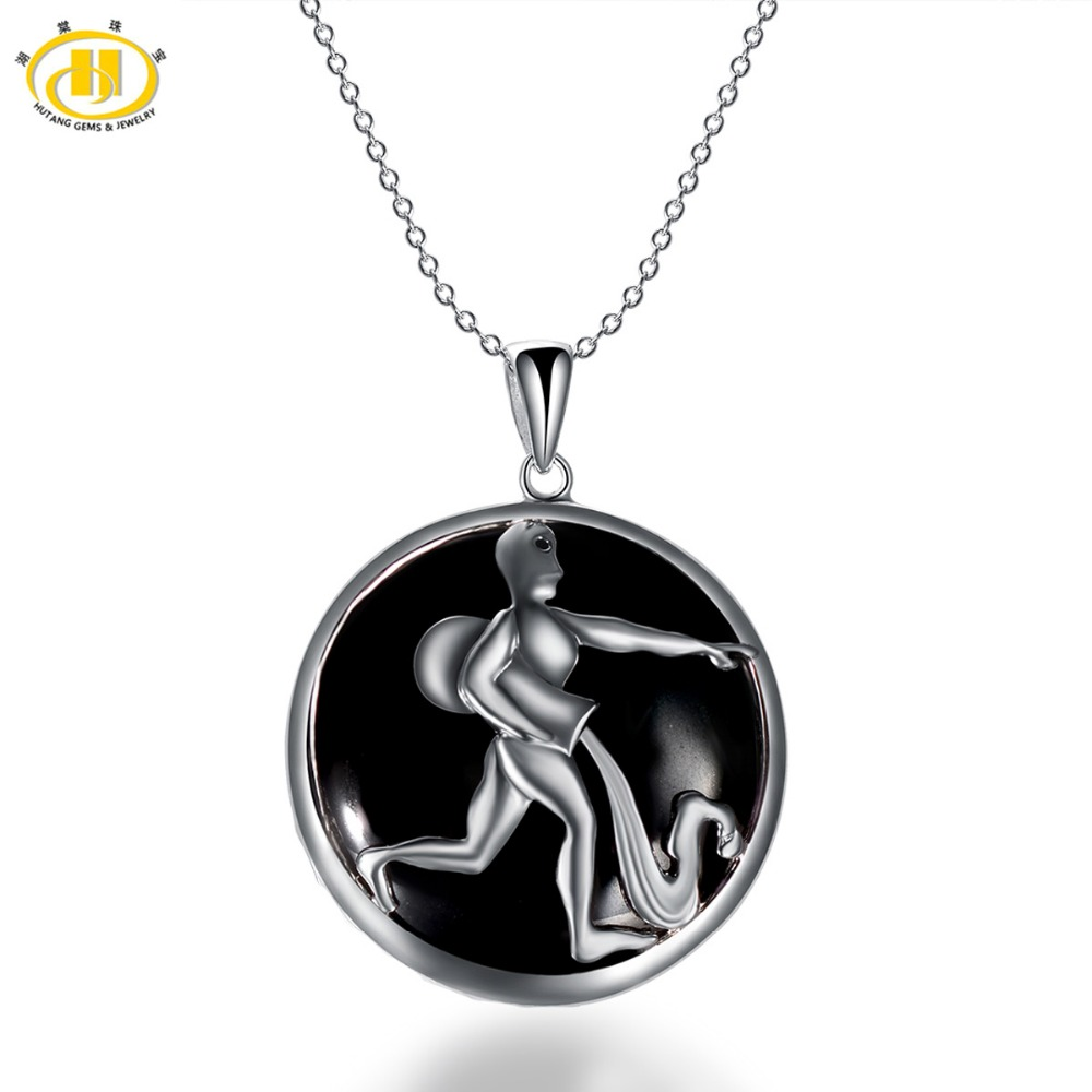 Hutang Aquarius Zodiac Pendant Natural Black Jade 23mm Solid 925 Sterling Silver Necklace Women's Men's Fine Jewelry Birthday
