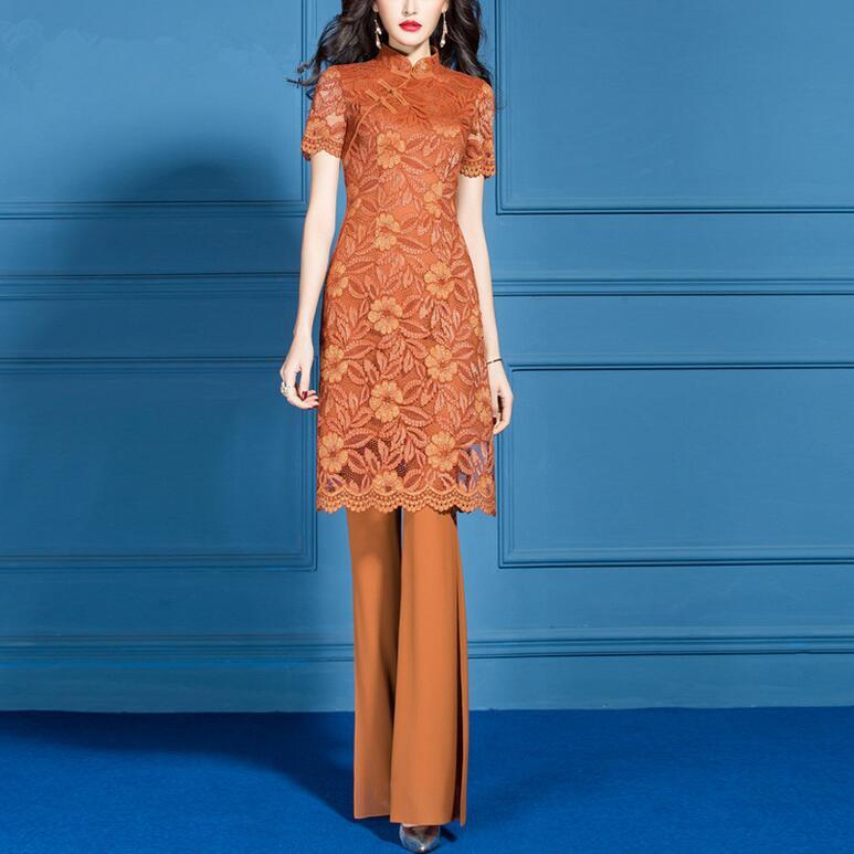 2019 printemps été nouvelles femmes ensembles Orange mode Flare pantalon deux pièces ensemble grande taille femme costume deux pièces ensemble