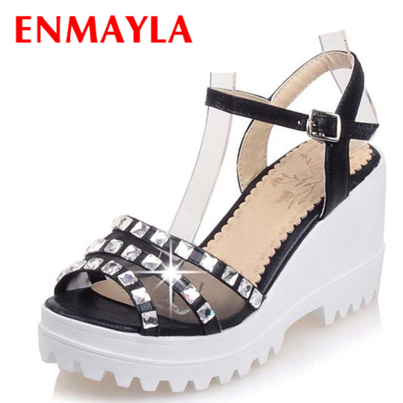 ФОТО ENMAYLA Gladiator Sandals Women Rhinestone Open Toe Wedding Shoes Woman Platform High Heels Sandals Crystals Strappy Party Shoes