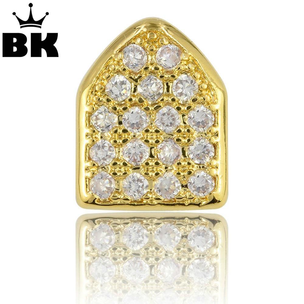 Hip Hop Gold Color Micro Pave CZ Cubic Zirconia Copper Single TeethGrillz TopGrillz