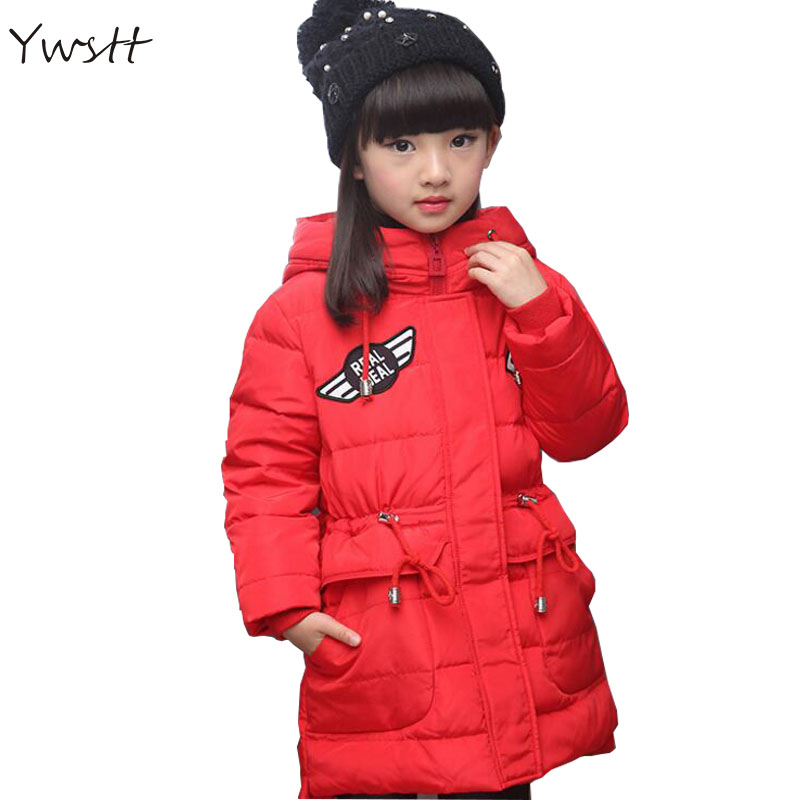 Children 's 2017 winter new children' s down jacket big girls in the Korean version of the girls down jacket long thick coat цена