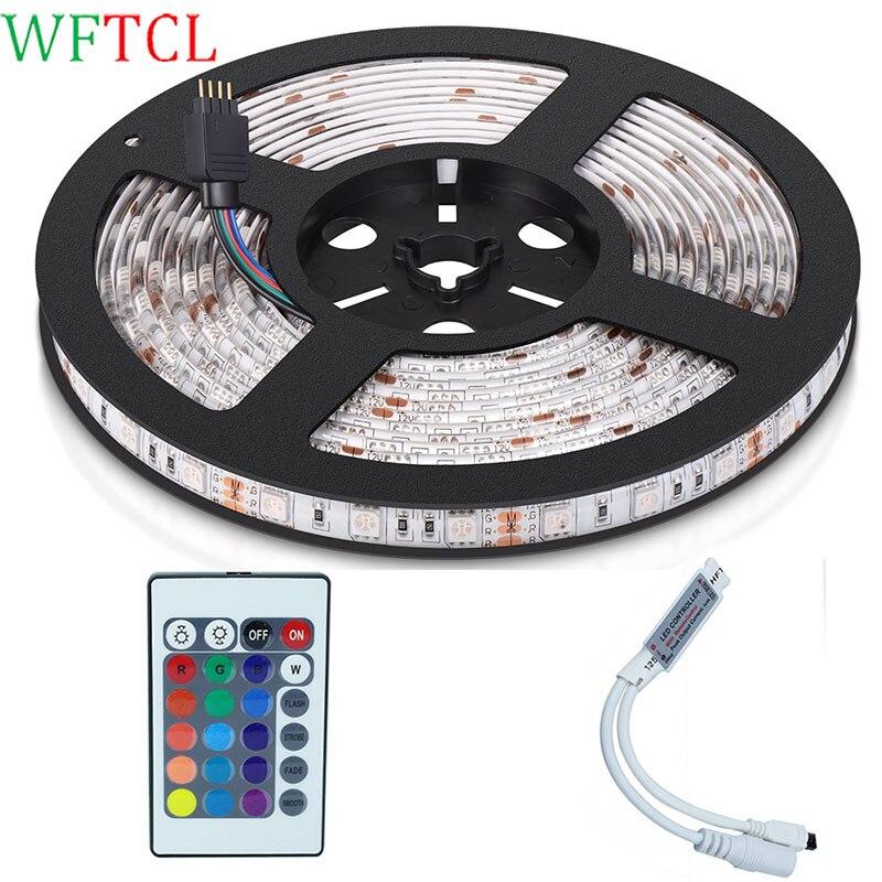 Led Tape Lights 5M 300LED 5050 RGB LED ribbon Color Changing LED Light Strips with mini 24-Key RGB controller for DIY Decoration