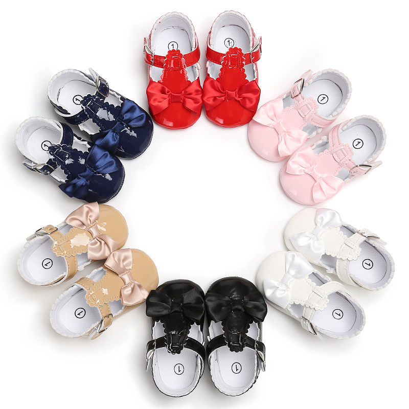 Adorable Cute Lovely Toddler Girl Shoes Baby Bowknot Soft Sole Shoes Party Princess Antiskid Kids Fille Joli Leather Sneakers