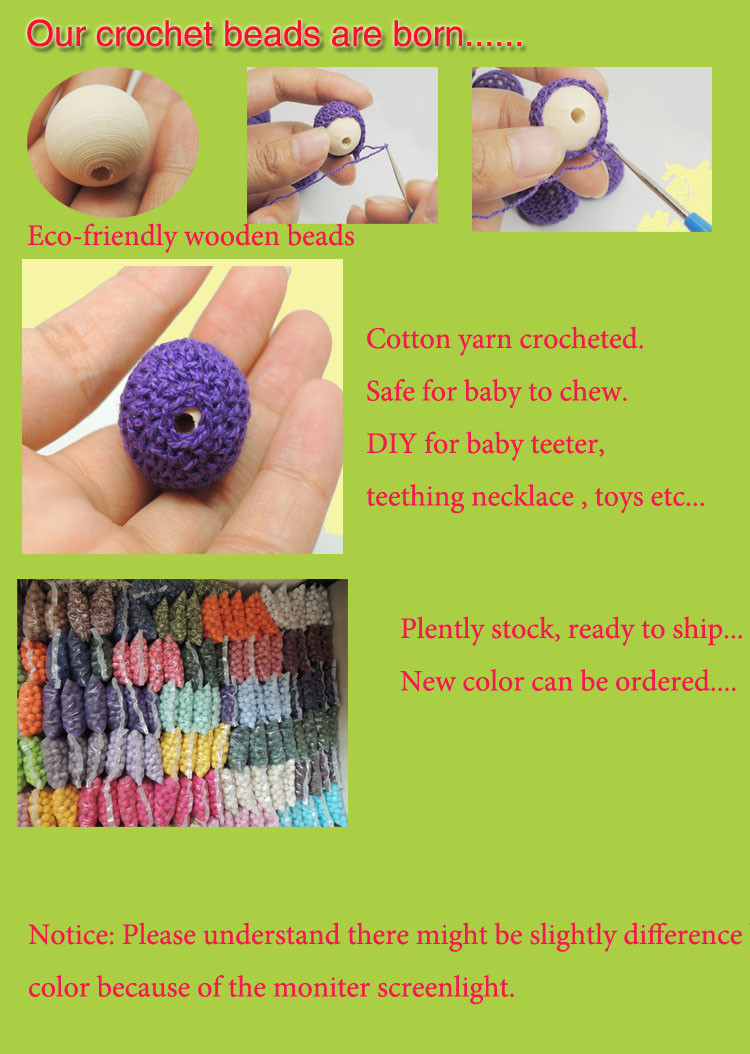 0.79 inch 40pcs 2cm Wholesale Crochet beads  20 mm  20 pieces  wooden beads crocheted  cotton yarn