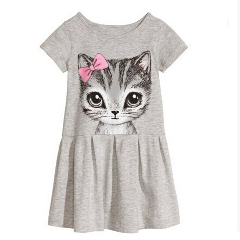 Hot Sale New 2016 summer girl dress cat print grey baby girl dress children clothing children dress bow print dress